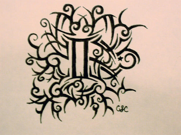 tribalgemini tattoo by cassietattoos on deviantart. Black Bedroom Furniture Sets. Home Design Ideas