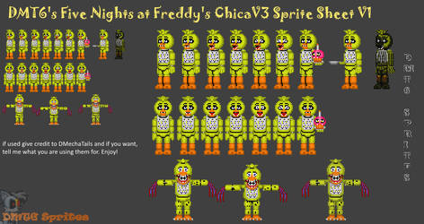 (DMT6) Chica Spritesheet by DMechatails.