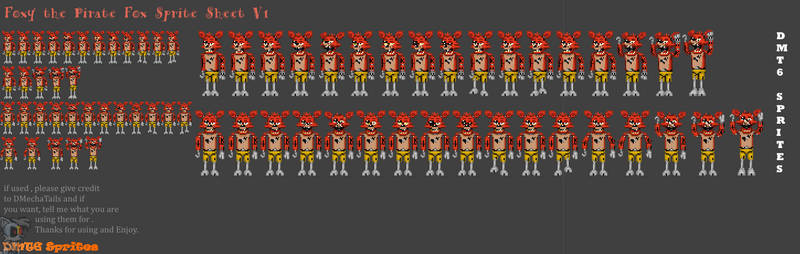 (DMT6) Foxy Spritesheet by DMechatails