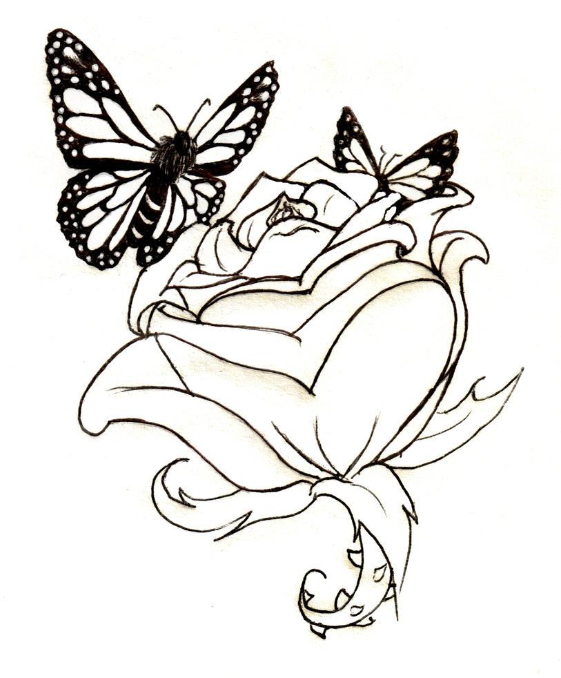 Line Art Rose Tattoo : Tattoo lineart rose and butterflies by waitkc on deviantart