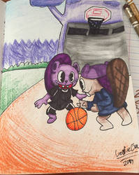 Two beaver brothers playing basketball.