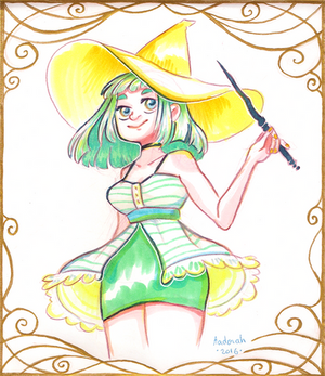 Green And Yellow Witch - Petit