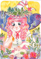 Pink hair and Plants by Aadorah