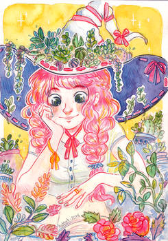 Pink hair and Plants