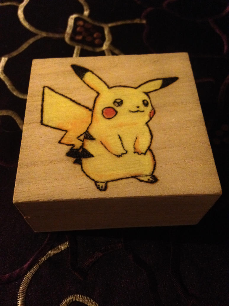 pikachu box pyrography by foxy-design1