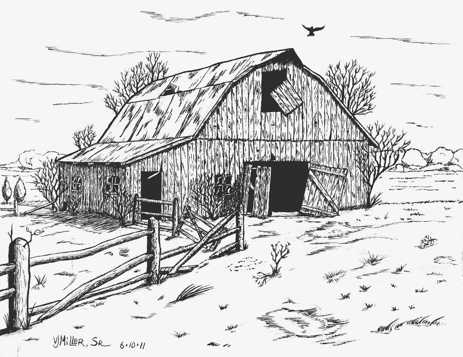 Pencil Of Old Barns Coloring Pages