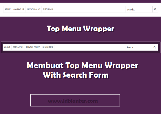 Create Top Menu With Search Form