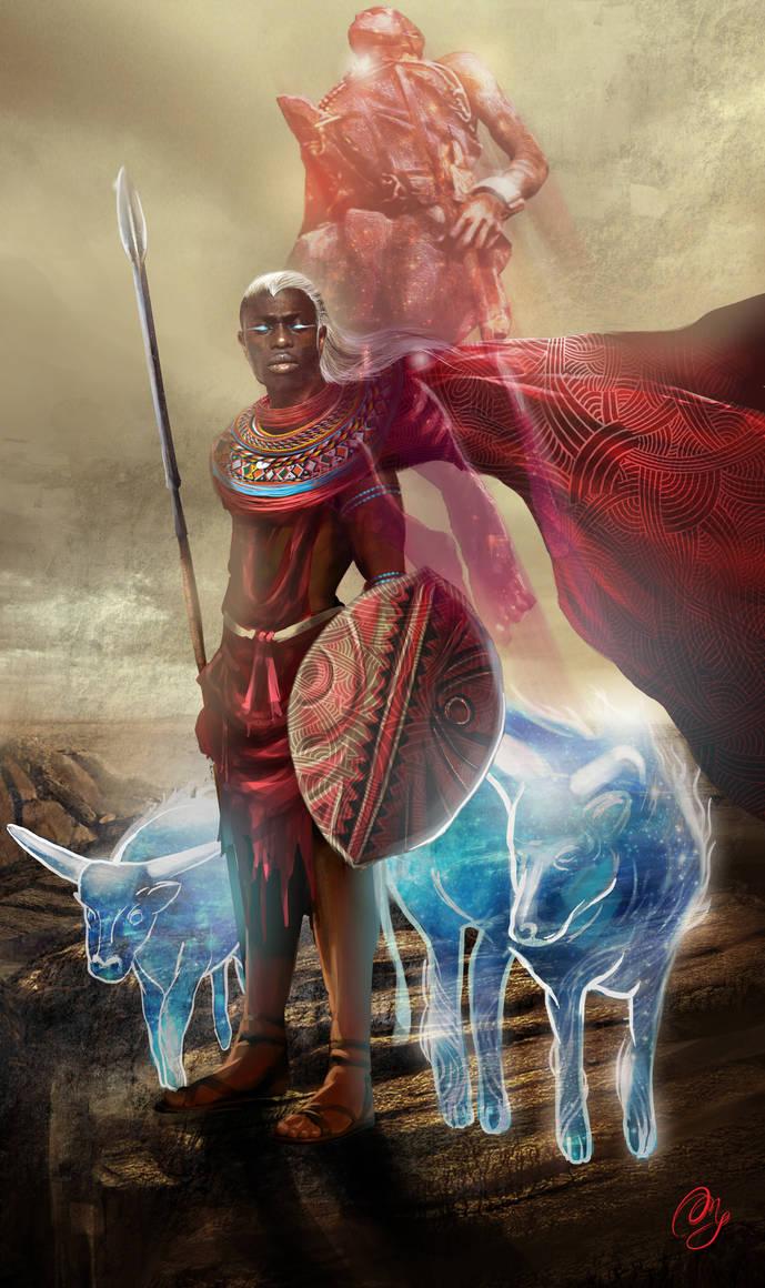 White Haired Maasai Warrior by angelmarthy