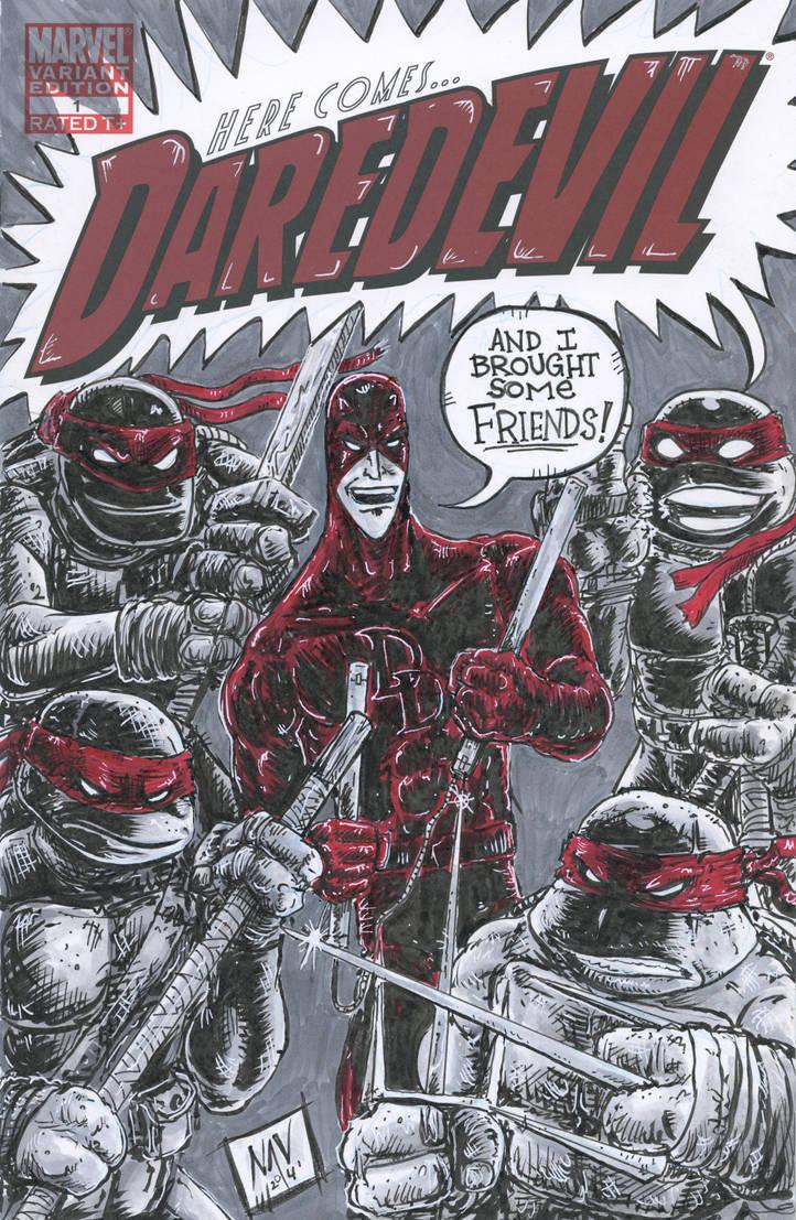 Daredevil versus TMNT Sketchcover by FWACATA