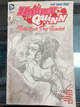 Harley Quinn sketch cover with portrait