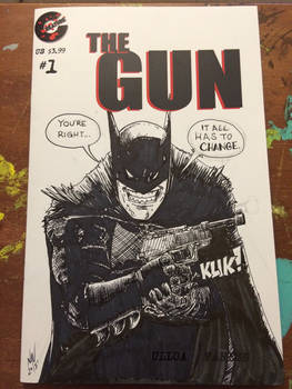 Batman ink srawing on a THE GUN Sketch Cover