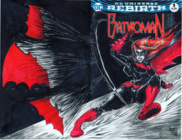 BATWOMAN sketch cover, ink and marker, for SALE