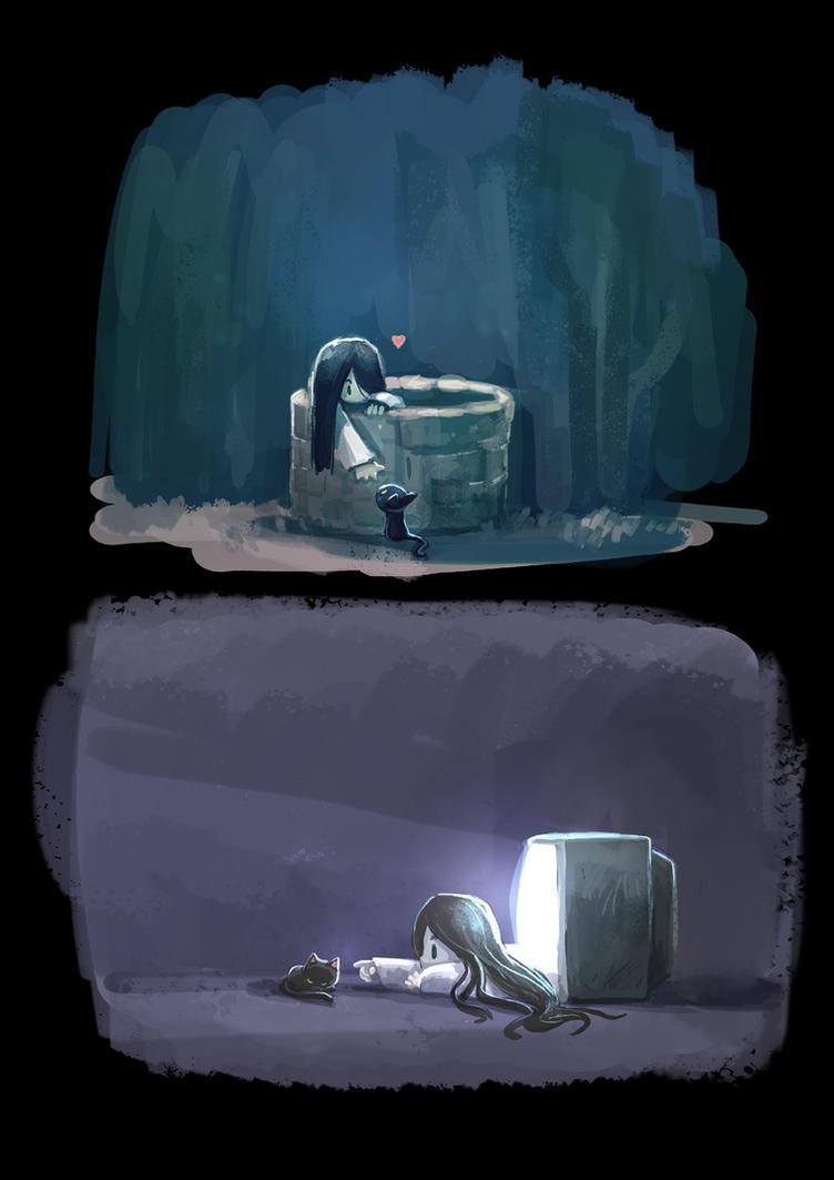 Sadako and neko by Delun