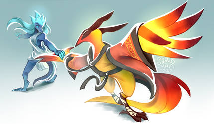 Fire dancing with Ice by Odeko-Yma