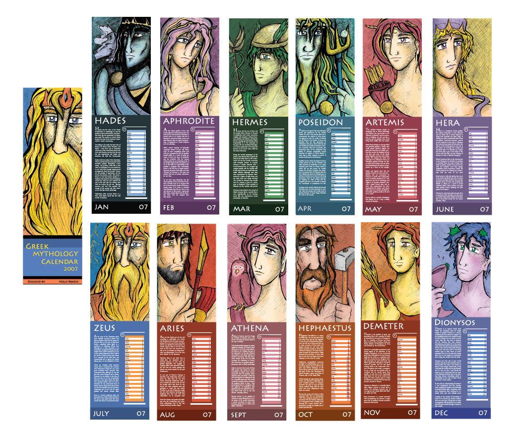 God Calendar Design : Greek mythology calendar by creativespirit on deviantart
