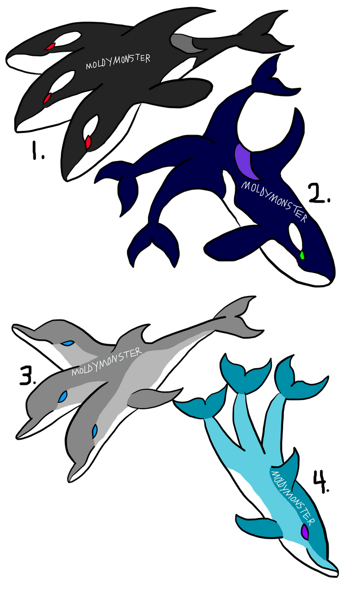 3 headed and 3 tailed dolphins and orcas, 4/4 open by MoldyMonster