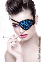 Blue Kitty Eye Patch by gothfox