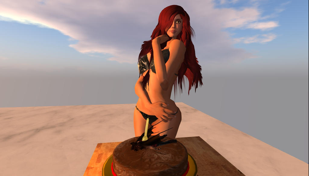 With Giantess on a cake by leo-darkheart