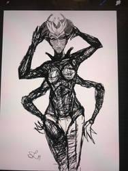 Alien chick WIP by leo-darkheart