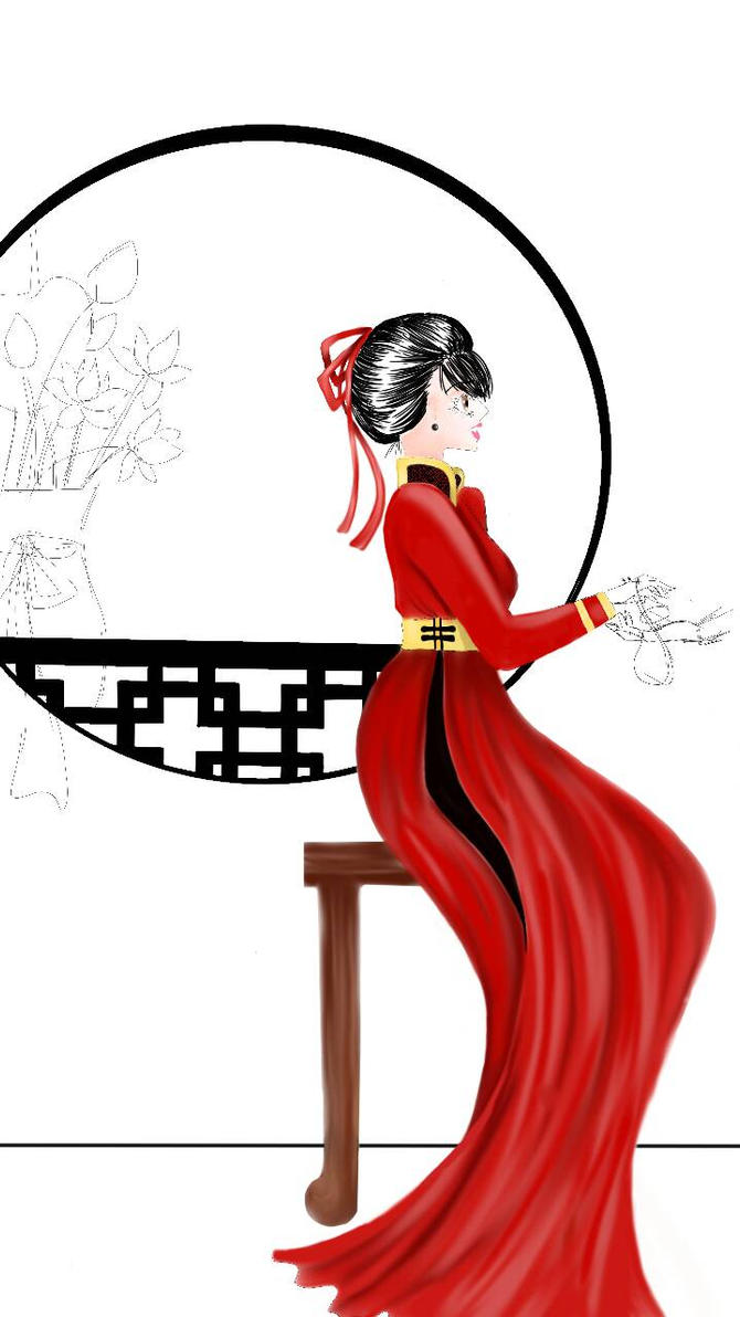Red Ao Dai Vietnam - WIP by Fairywater