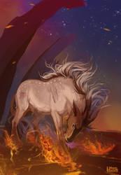 |Comission| Fire deer by MUSONART