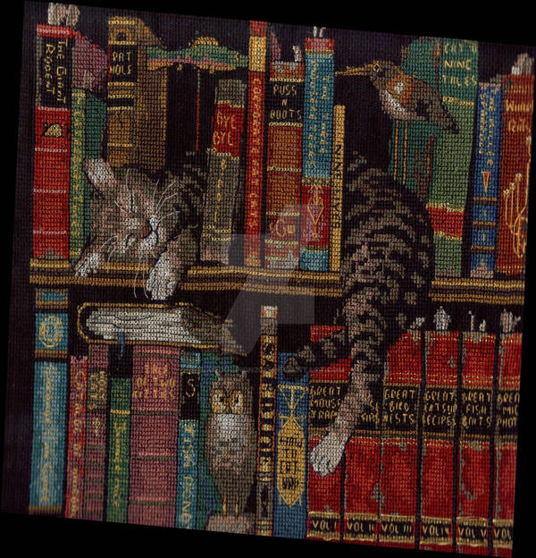 Sleeping Cat on a Bookshelf by BlueDolphin2011