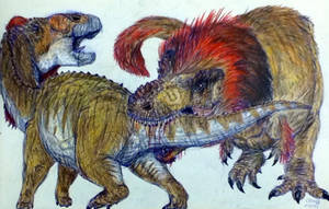 Tyrannosaurus Vs Edmontosaurus by MickeyRayRex