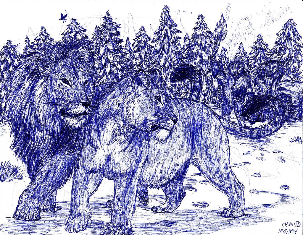 Snow Lions by MickeyRayRex