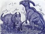 Centrosaurus and Parasaurolophus