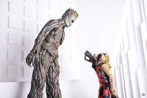 Groot and Rocket Raccoon by niamash
