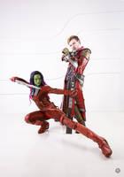 Gamora and Star-Lord by niamash