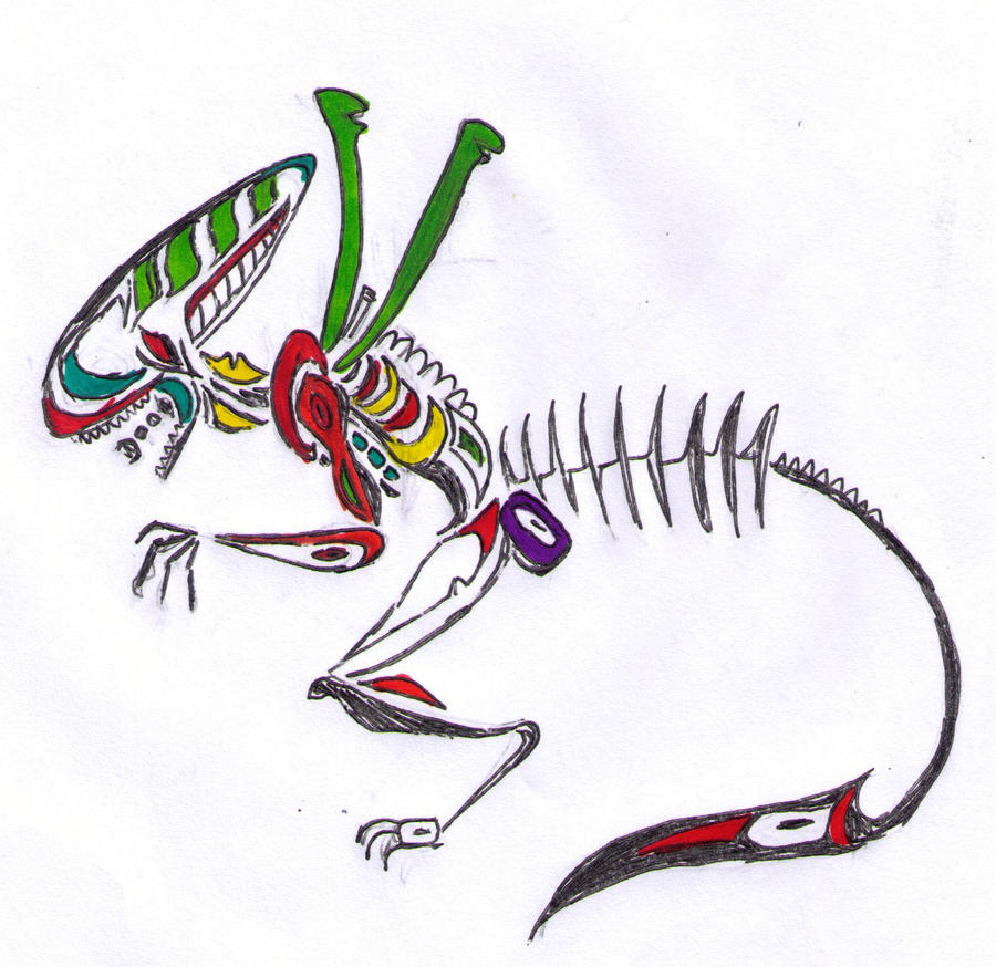 native american style sketch xenomorph TIMEZ by rabidminimoose