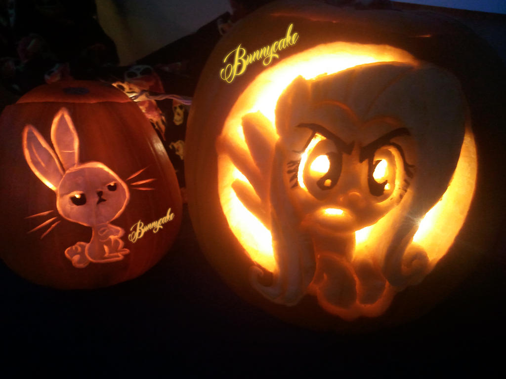 Fluttershy s stare pumpkin angel by bunnywinter on