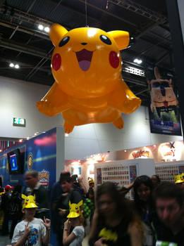 Inflatable Pikachu Balloon at Pokemon Stall