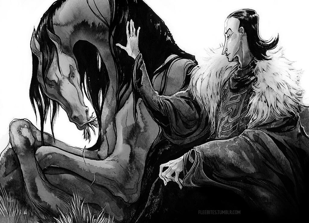 Loki and Sleipnir by fleebites