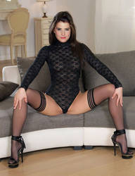 Cobie Smulders in Fishnet outfit