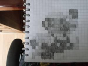 Hand drawn pixel art