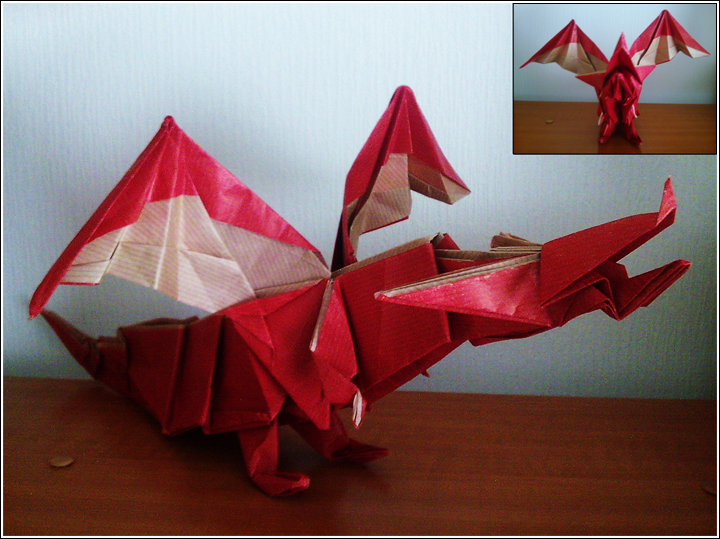 Origami Model Fiery Dragon By SuperKail