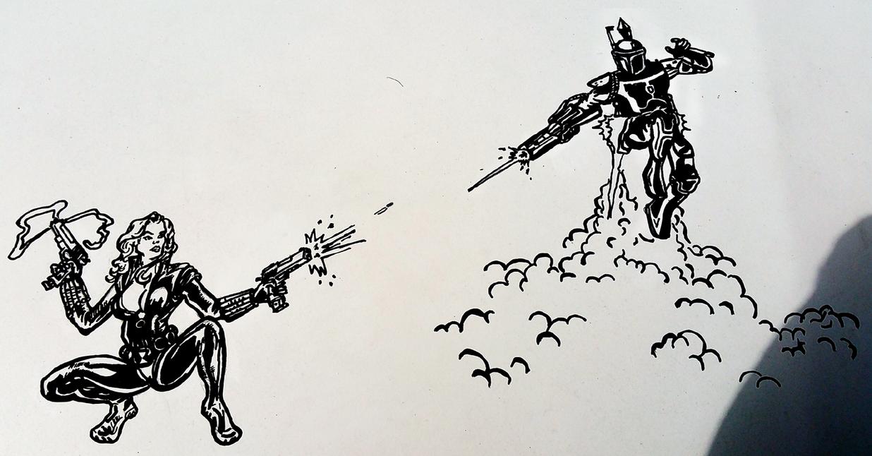 Black Widow Versus Boba Fett by AllHailZ
