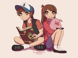 Dipper, Mabel, and Waddles