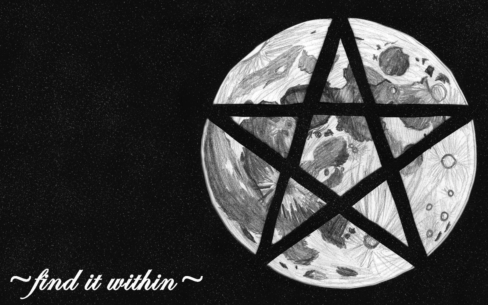 Wicca Moon Pentagram b...