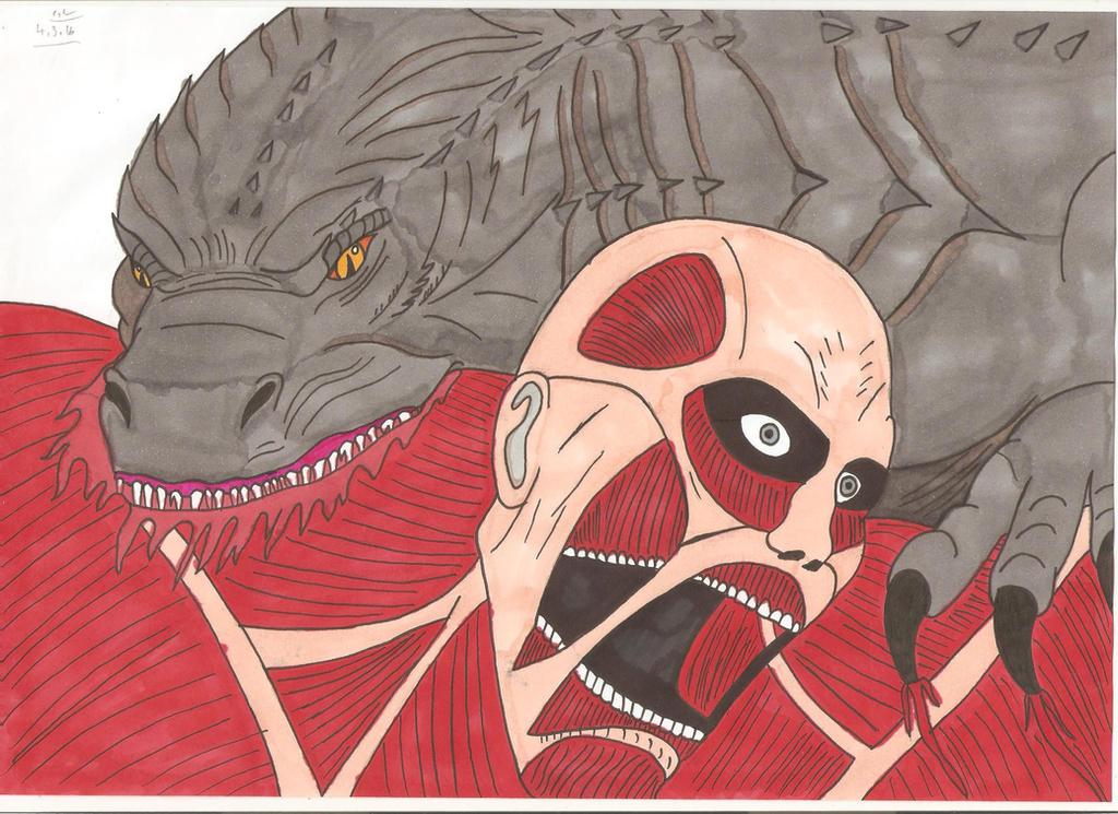 Attack on Titan - Godzilla vs Colossal Titan by ...