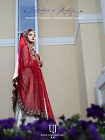 Typical Deep Red Wedding Dress of Pakistani Bride by UsmanJamshed