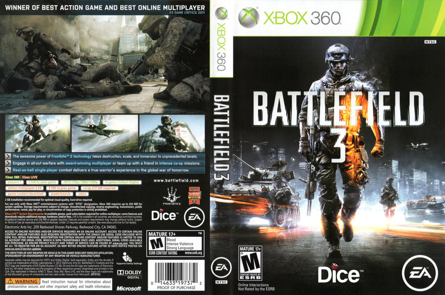 Dice Re-Brand Battlefield 3 Xbox 360 Game Cover by ... Xbox 360 Game Cover Size