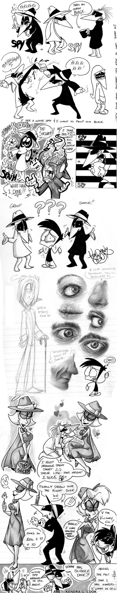 Spy vs Spy + other doodles by cloudbabykc