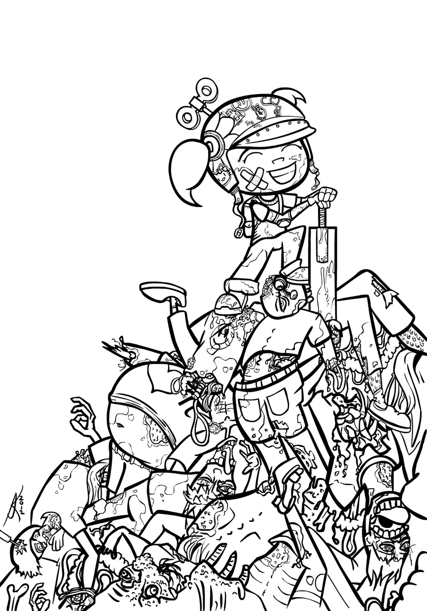 Line Drawing Of A Zombie : Zoe zombie killer line art by heartlessomen on deviantart