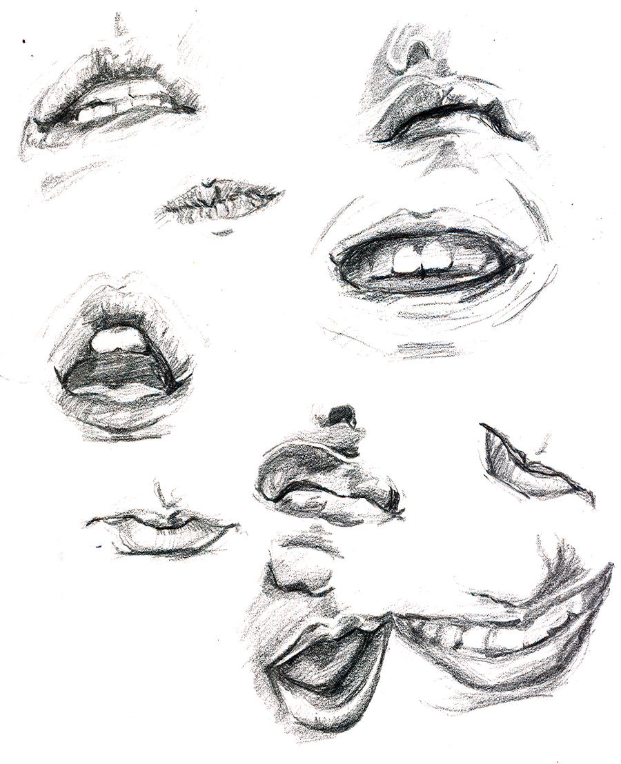 Thick drawings of mouth yes