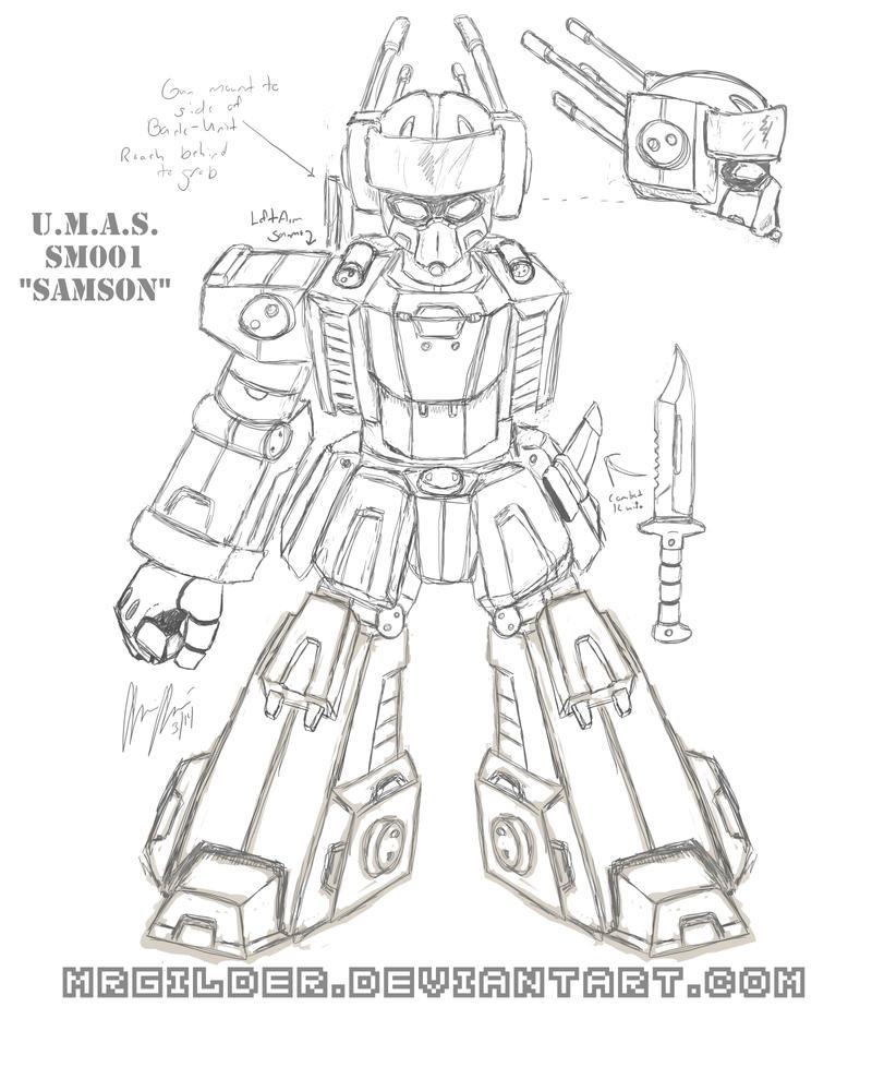 SM001 Samson - Sketch - Frontal by mrgilder