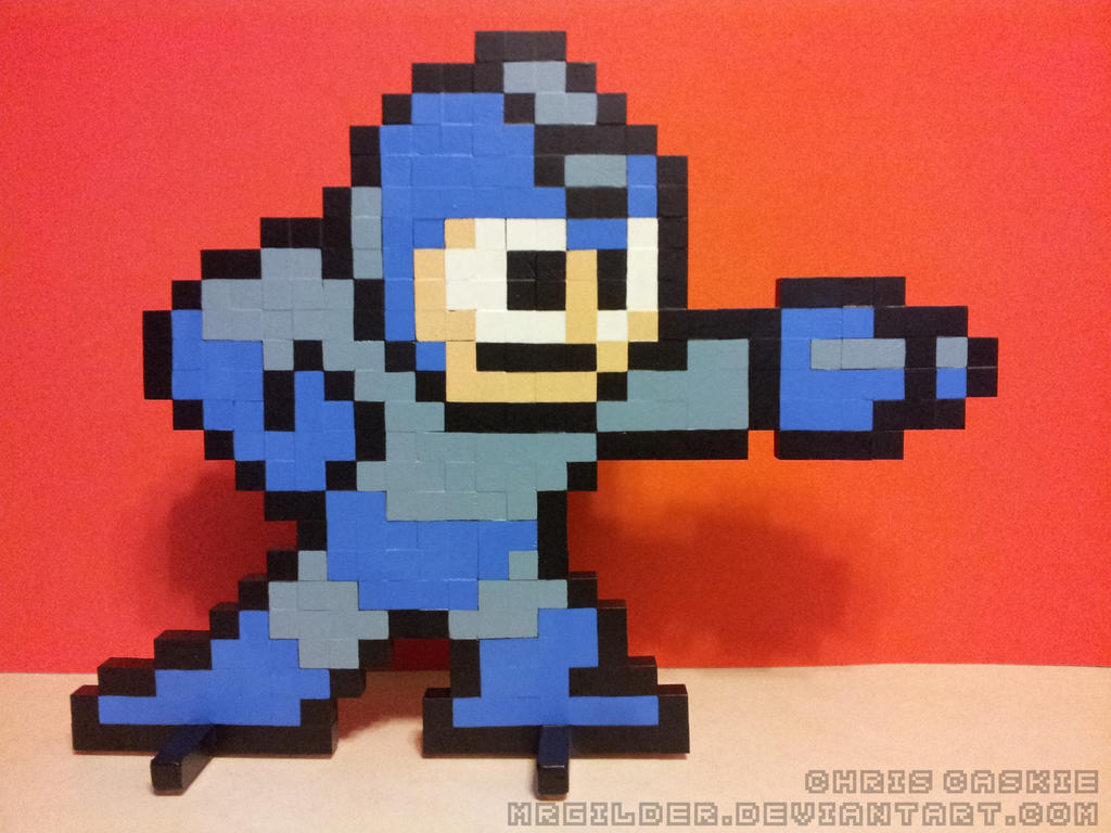 Mega Man Shooting Wooden Sprite by mrgilder