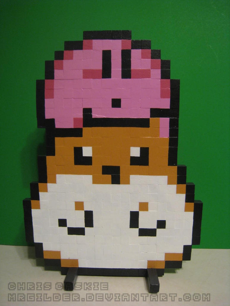 Kirby and Rick Wooden Sprite by mrgilder